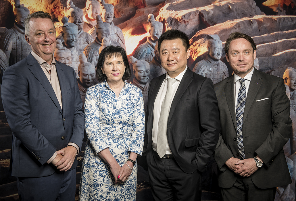 Foley, Janet Whiting AM, President, Council of Trustees of the National Gallery of Victoria, Jeff Xu, Founder and Managing Director, Golden Age Group and Tony Ellwood AM, Director, NGV at the program announcement of the Autumn Winter 2019 launch which announced the 2019 NGV Melbourne Winter Masterpieces exhibition Terracotta Warriors + Cai Guo-Qiang Photo: Eugene Hyland