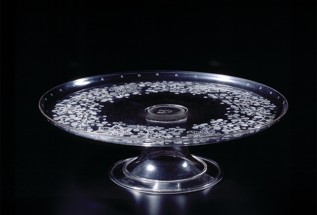 Italy, Venice manufacturer, Tazza 17th century glass (diamond-point engraved) 9.6 x 32.8 cm diameter National Gallery of Victoria, Melbourne Purchased, 1871 (86-D1R)