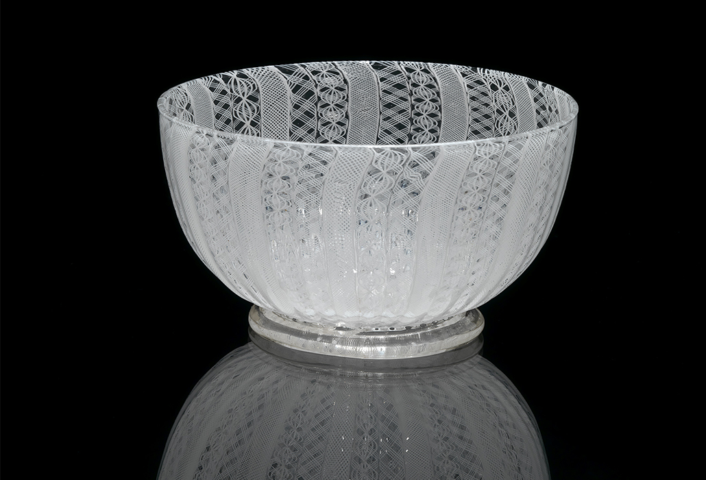 Italy, Venice manufacturer Bowl c. 1736 glass (latticinio) 6.1 x 12.0 cm diameter National Gallery of Victoria, Melbourne Purchased, 1871 (32-D1R)