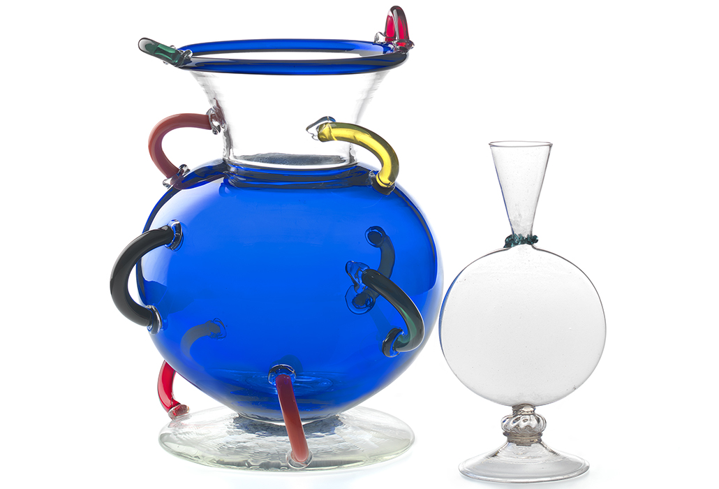 Ettore Sottsass designer Austria/Italy 1917–2007 Memphis, Milan retailer Italy 1981–1988 Toso Vetri D'Arte, Murano manufacturer Italy est. 1981 Mitzar, vase 1982 glass (applied decoration) 35.6 x 27.9 cm diameter National Gallery of Victoria, Melbourne Purchased with the assistance of the National Gallery Women's Association, 1985 (D78-1985) Italy, Venice Flask 16th century glass 25.5 x 13.1 x 10.4 cm National Gallery of Victoria, Melbourne Presented by the National Gallery Women's Association, 1973 (D204-1973)