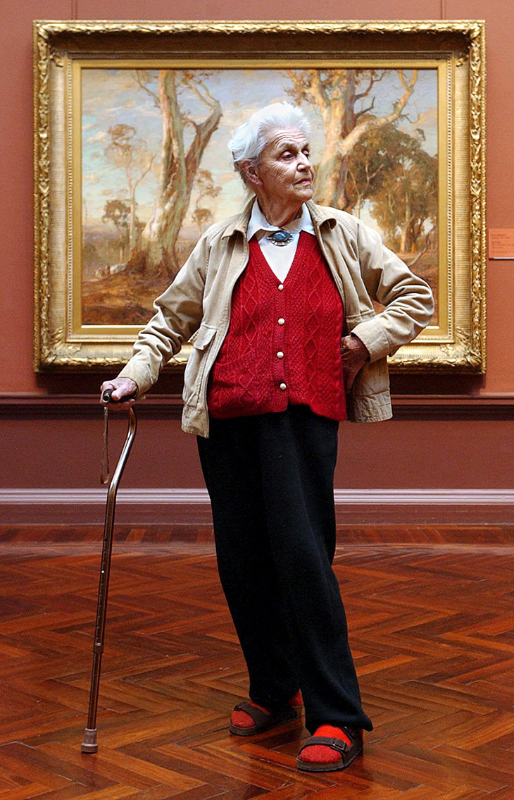 Nora Heysen at 92, pictured in front of Hans Heysen's Red Gold, Art Gallery of South Australia, 2003, Photo: Brenton Edwards, © News Ltd