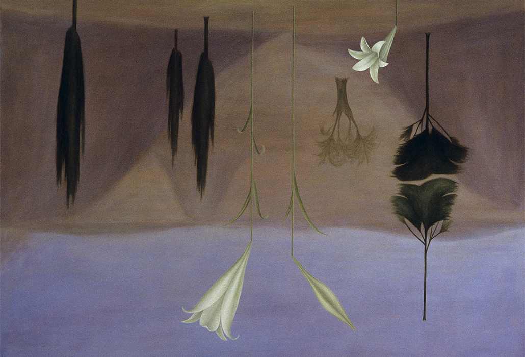 Rosslynd Piggott: Upside-down landscape 1989 oil on linen 136.0 x 183.0 cm © The artist Photo: courtesy the artist