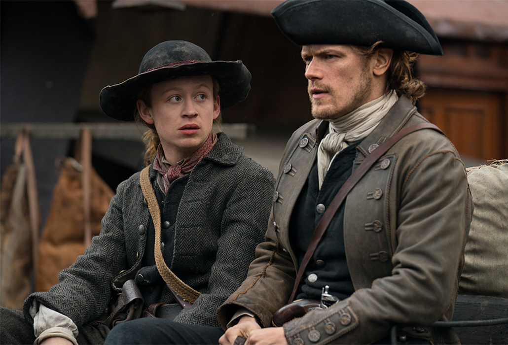 Sam Heughan as Jamie Fraser and John Bell as Young Ian Murray, in Starz TV Series 4, Outlander