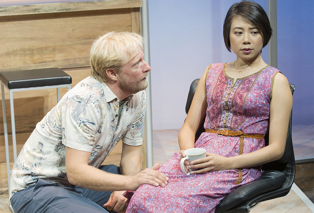 Detail: Jeremy Waters and Aileen Huynh in The Big Time, Ensemble Theatre Sydney, photo by Brett Boardman