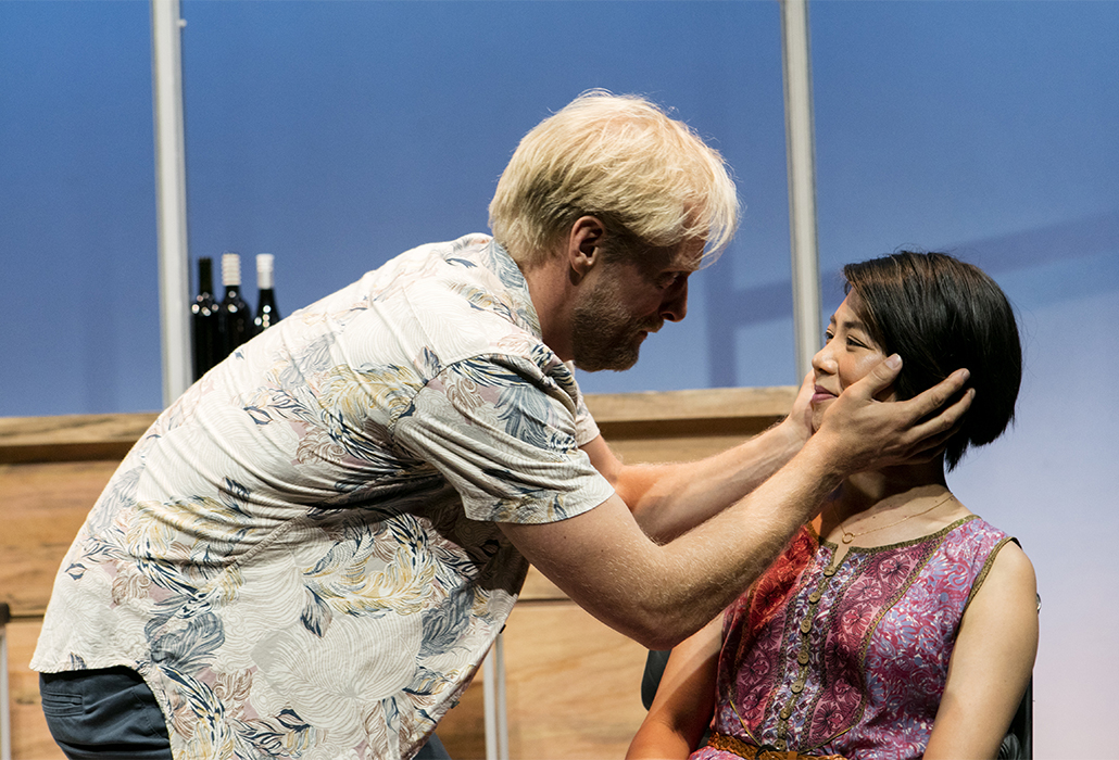 Jeremy Waters and Aileen Huynh in The Big Time, Ensemble Theatre Sydney, photo by Brett Boardman