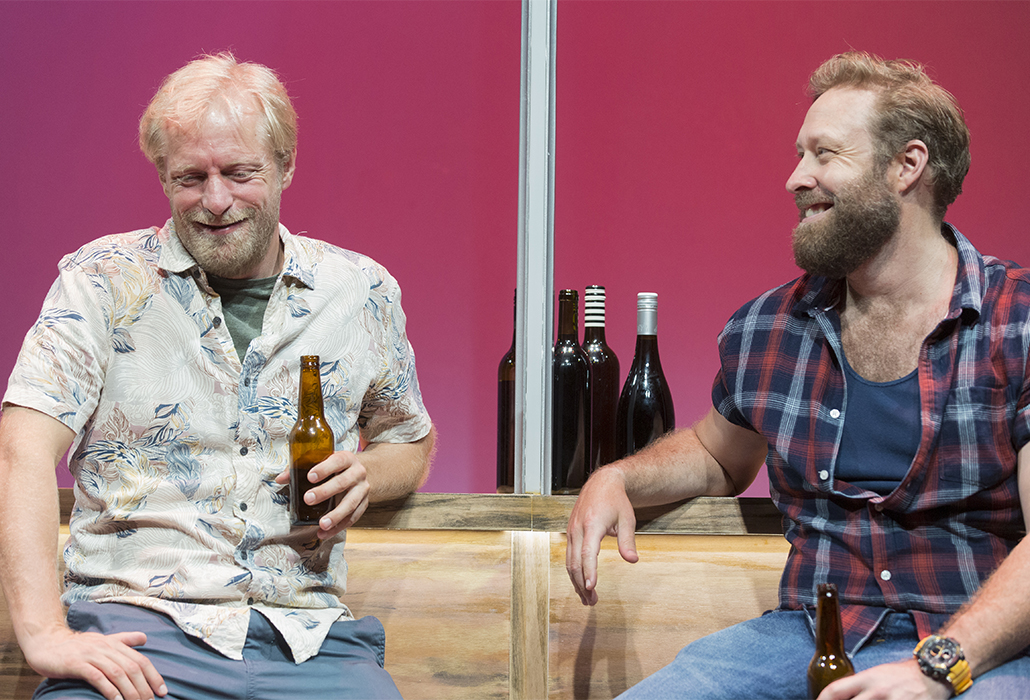 Jeremy Waters as Rohan and Ben Wood as Rolly in The Big Time, Ensemble Theatre Sydney, photo by Brett Boardman