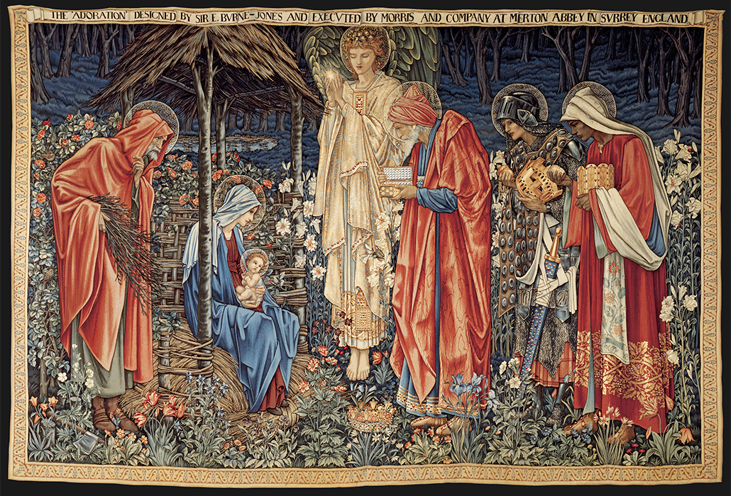 Edward Burne-Jones: The adoration of the Magi, designed 1887, manufactured 1900-02 wool, silk, 251.2 x 372.5 cm Morgan Thomas Bequest Fund 1917, Art Gallery of South Australia, Adelaide