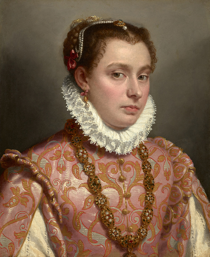 Giovanni Battista Moroni, Portrait of a Young Woman, ca. 1575, oil on canvas, 20 3/8 x 16 3/8 inches, private collection; photo: Michael Bodycomb