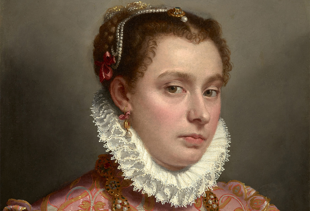 Giovanni Battista Moroni, detail: Portrait of a Young Woman, ca. 1575, oil on canvas, 20 3/8 x 16 3/8 inches, private collection; photo: Michael Bodycomb
