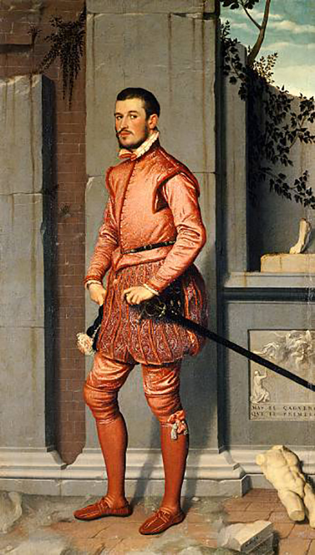 Giovanni Battista Moroni, Giovanni Gerolamo Grumelli, called Il Cavaliere in Rosa (The Man in Pink), dated 1560 Oil on canvas 85 x 48 3/8 inches Fondazione Museo di Palazzo Moroni, Bergamo - Lucretia Moroni Collection Photo: Mauro Magliani