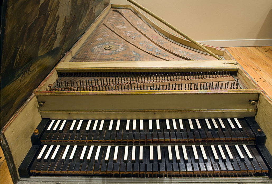 Harpsichord by Benoist Stehlin, 1760. Detail view courtesy Smithsonian Institute, Washington