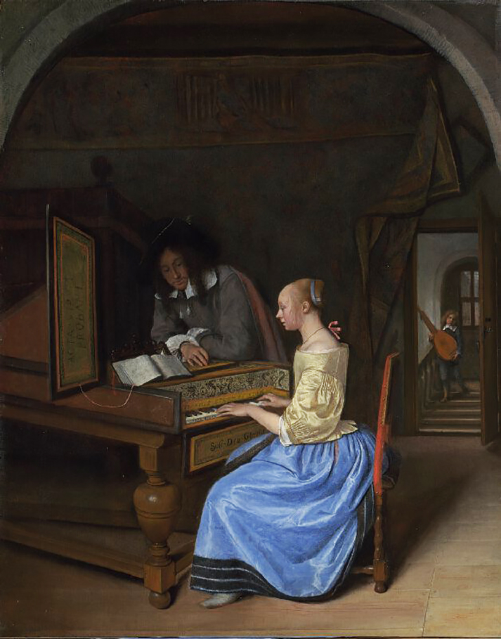 Young Woman playing a Harpsichord to a Young Man probably 1659, Jan Steen. National Gallery, London