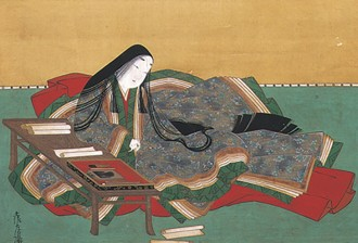 Detail of 17th-century portrait of Murasaki Shikibu, wearing the j?nihitoe, by Tosa Mitsuoki (1617–1691)
