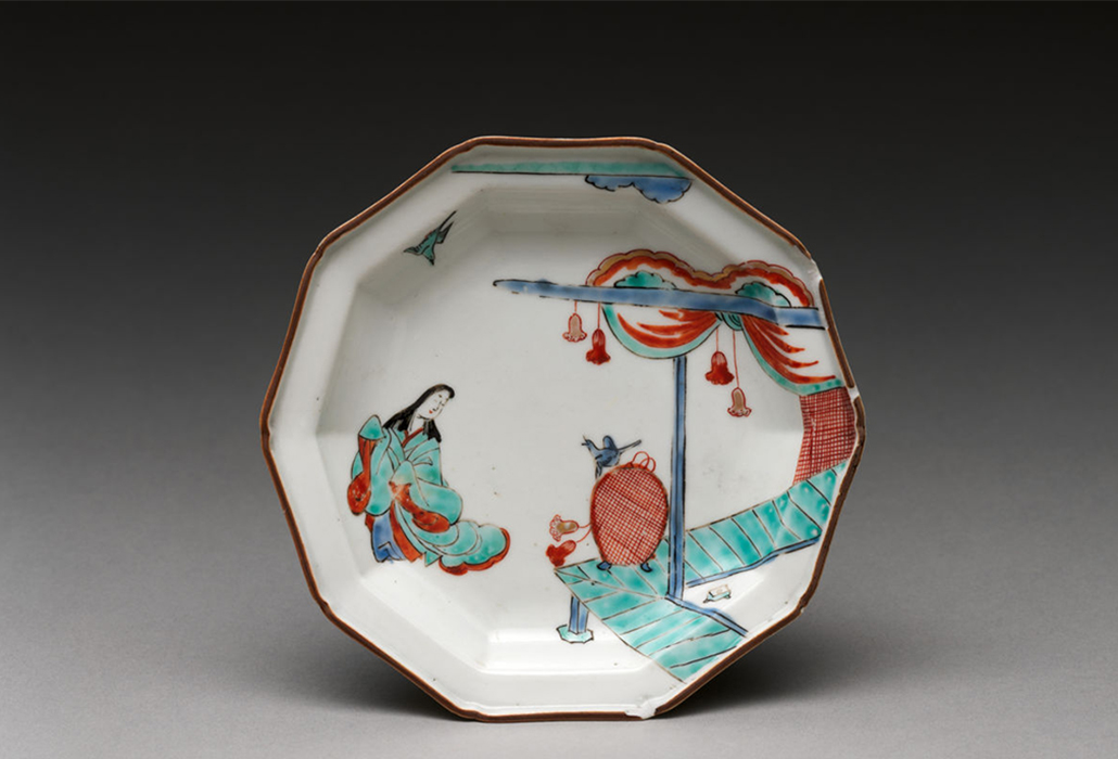 Plate with Japanese court woman and birds, 1710–30, Japanese, for European market, Hard-paste porcelain painted with colored enamels over transparent glaze (Hizen ware; Imari type), 4 7/8 in. (12.4 cm), The Hans Syz Collection, Gift of Stephan B. Syz and John D. Syz, 1995, courtesy The Metropolitan Museum of Art