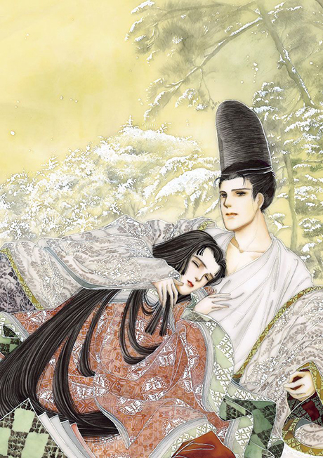 Hikaru Genji and Murasaki no Ue from The Tale of Genji, illustrated by Waki Yamato