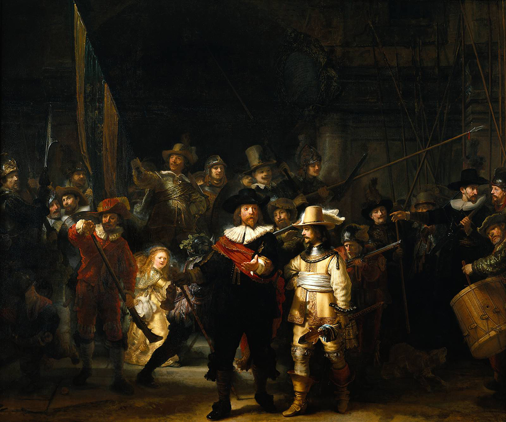 Rembrandt, Officers and Men of the Amsterdam Kloveniers Militia, the Company of Captain Frans Banning Cocq, signed and dated 'Rembrandt f 1642'. Canvas, 363 x 438 cm, Amsterdam, Rijksmuseum