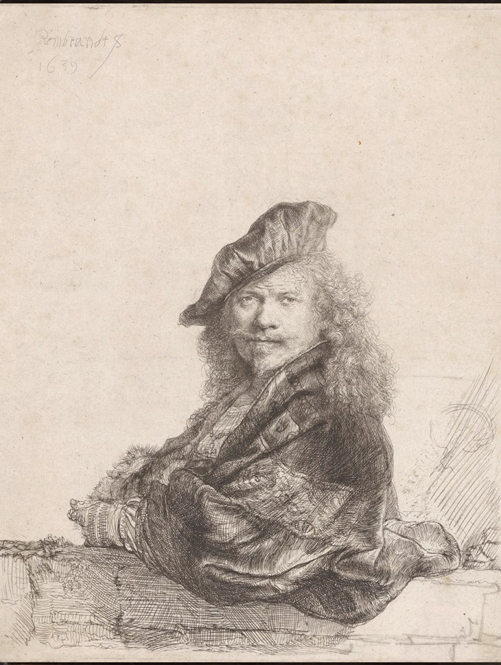 Rembrandt van Rijn, Self-portrait with the forearm leaning on a stone threshold, 1639. © courtesy Rijksmuseum