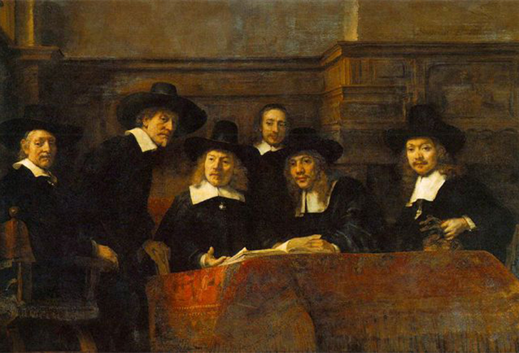 Rembrandt Van Rijin: detail The Wardens of the Amsterdam Drapers' Guild, Known as 'The Syndics', 1662, ©courtesy Rijksmuseum, Amsterdam