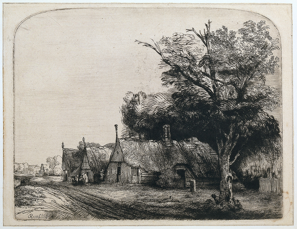 Rembrandt Van Rijin: Landscape with Three Gabled Cottages beside a Road, etching and drypoint on paper 16.2 cm x 20.3 cm ©copyright Rijksmuseum, Amsterdam
