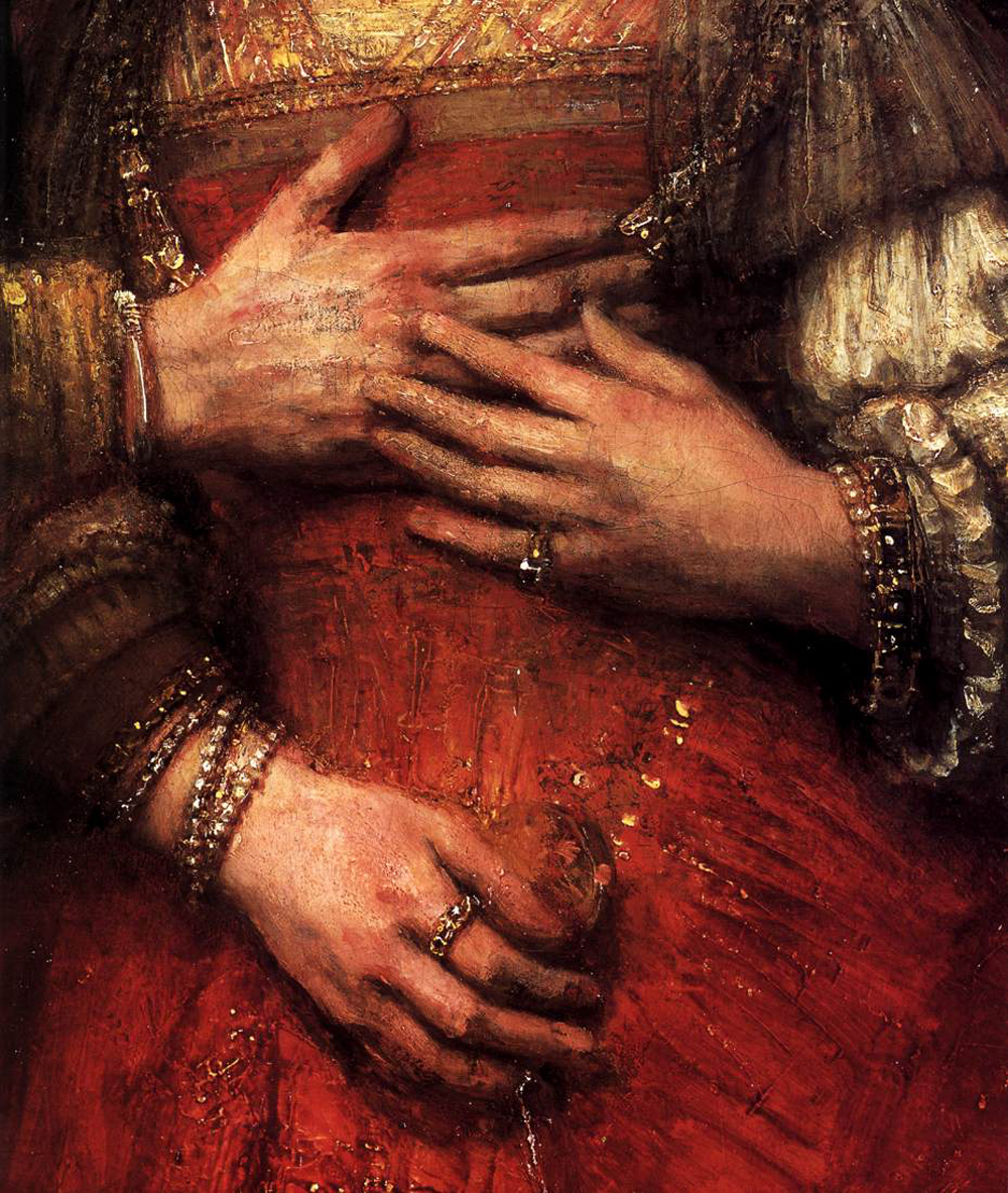 Rembrandt van Rijn, detail, Isaac and Rebecca (known as The Jewish Bride) (c. 1669), © courtesy Rijksmuseum, Amsterdam