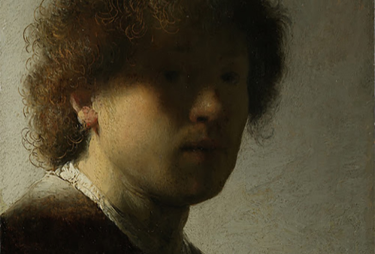 Self-portrait, Rembrandt van Rijn, c. 1628, detail, oil on panel, h 22.6cm × w 18.7cm ©courtesy Rijksmuseum, Amsterdam