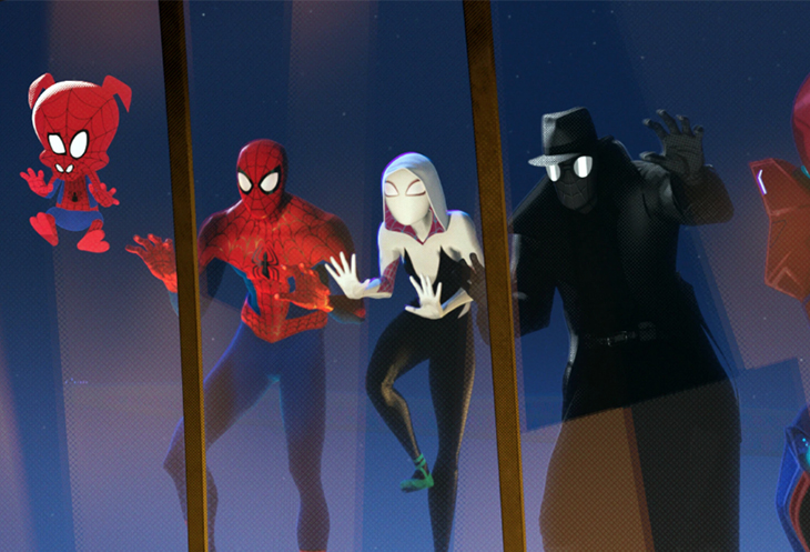 John Mulaney, Jake Johnson, Hailee Steinfeld, Nicolas Cage and Kimiko Glenn voice an army of alt-Spideys in 'Spider-Man: Into the Spider-Verse.'Detail courtesy Sony Pictures Animation