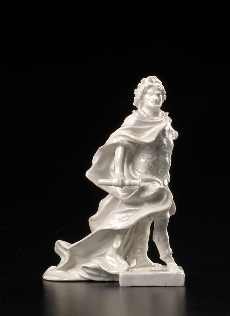 Augustus the Strong Elector of Saxony and King of Poland (1714-1725), white, dressed as a Roman Emperor, stands on square plinth. MEISSEN PORCELAIN FACTORY, Meissen (manufacturer). Johann Joachim KRETZSCHMAR (modeller), porcelain, 10.9 × 7.3 × 6.3 cm, Everard Studley Miller Bequest, 1975, courtesy National Gallery of Victoria