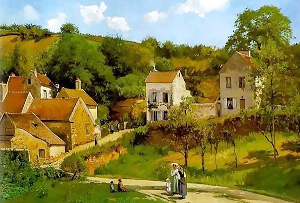 Camille Pissarro, L'hermitage at Pontoise, 1867, oil on canvas, Solomon R. Guggenheim Museum, New York, Thannhauser Collection, Gift, Justin K. Thannhauser, 1978