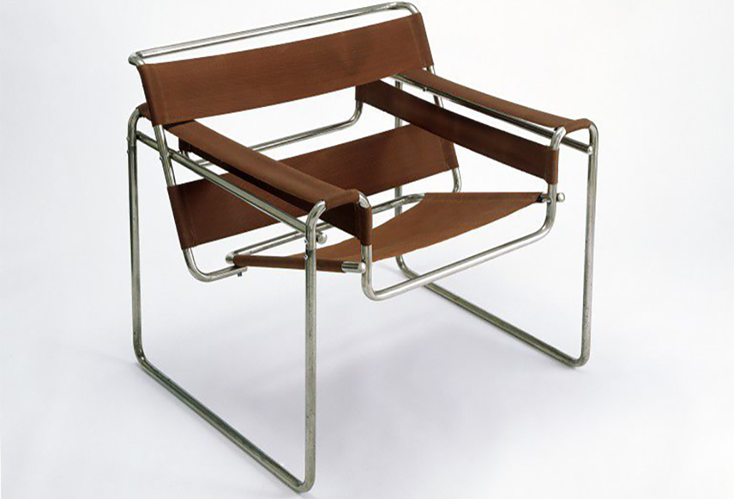 Club chair, model B3, 1925-1926 (designed) 1927-1928 (manufactured) Artist/Maker: Marcel Lajos Breuer, 1902 - 1981 (designer) Nickel-plated tubular steel, screwed together, with cotton canvas upholstery courtesy V & A Museum, London