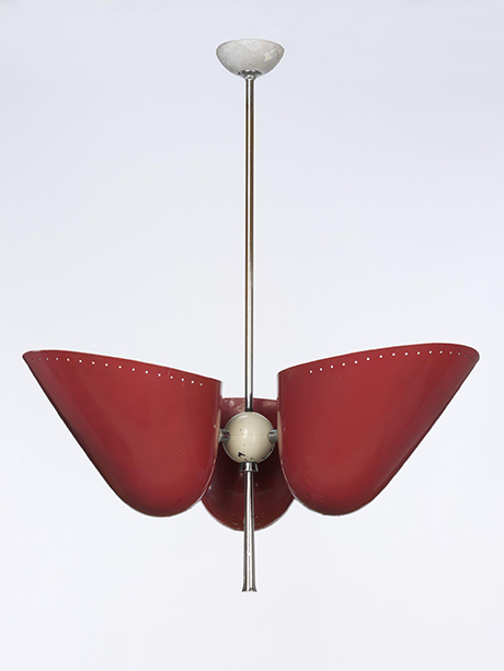 Versalite, 1948 (designed and made) Artist/Maker: Read, A.B. RDI ARCA FSIA, born 1899 - died 1973 (designer) Troughton and Young Lighting Ltd. (manufacturer) Materials and Techniques: The shades, painted aluminium attach to a brass sphere on a chromium plated steel rod by chrome plated, machined joints, courtesy V & A Museum, London