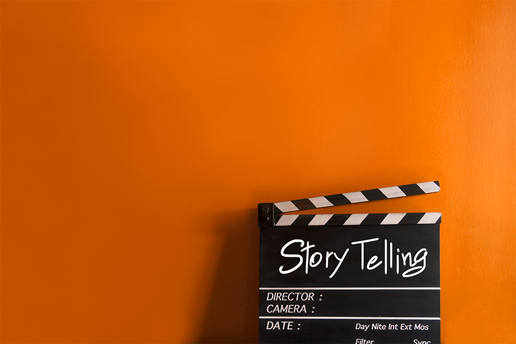 Story Telling,text title on film Clapperboard