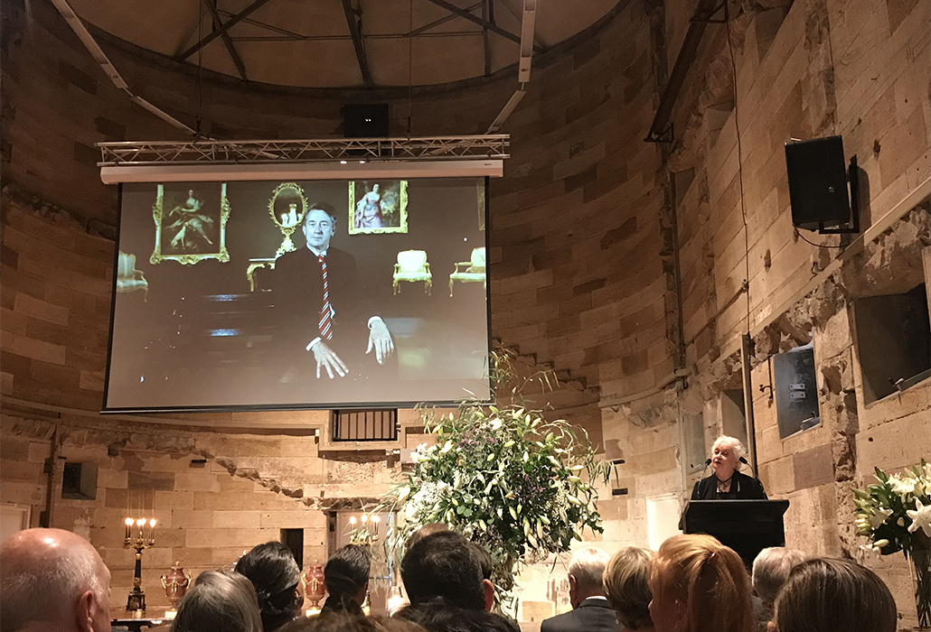 Remembering Martyn Cook, MC Carolyn McDowall at Memorial and Celebration of his Life at National Art School, Darlinghurst in Sydney