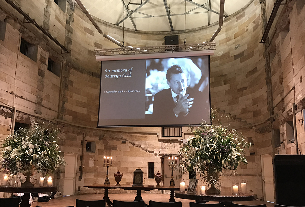 Setting for memorial service and celebration of life for Martyn Cook, 11.4.2019, National Art School, Darlinghurst Sydney photo by Belinda McDowall