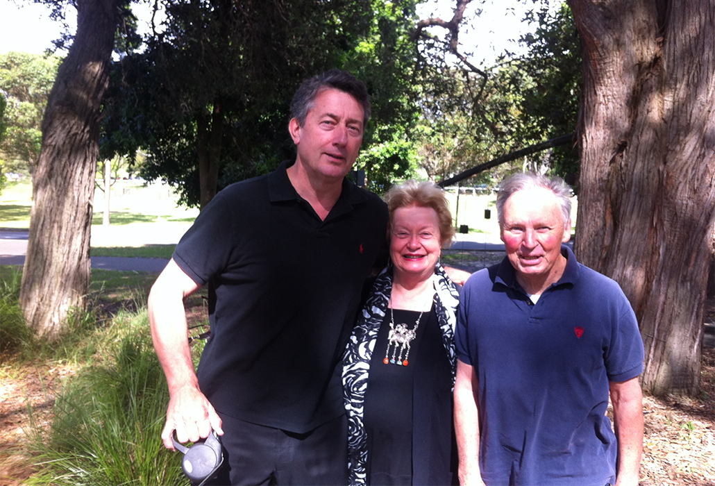 The three musketeers, Martyn Cook, Carolyn McDowall and 'Mac' in Centennial Park, 2014
