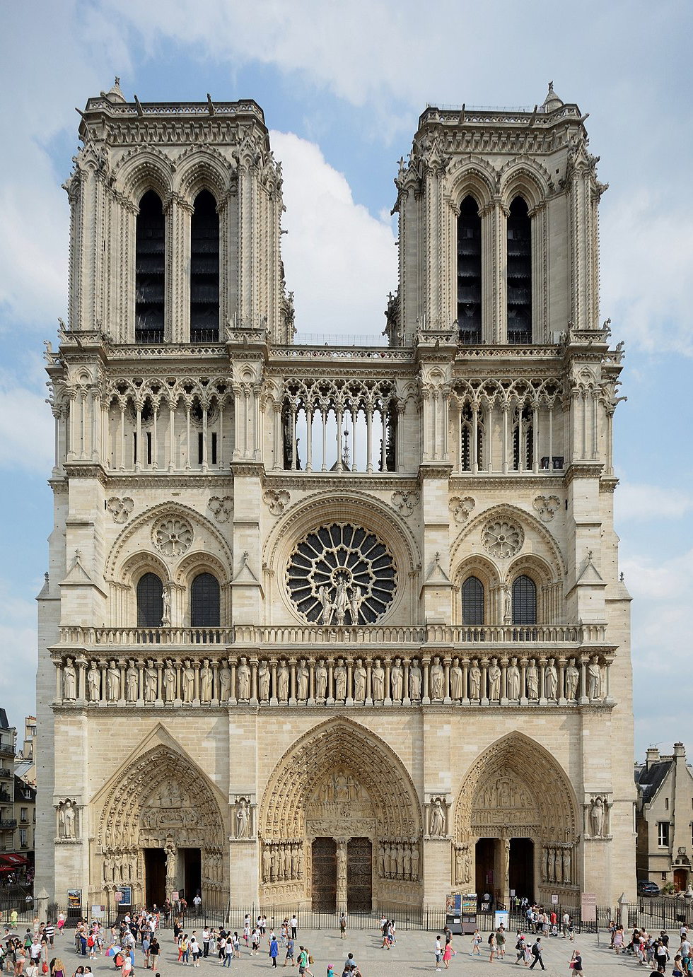 The Twin Facade of the Cathedral of Notre Dame, Paris, a world heritage treasure