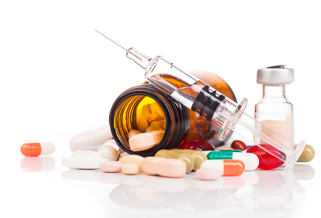 medicines and drugs on table
