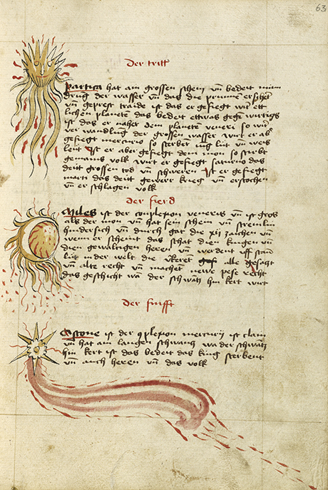 Comets; Unknown; Ulm, Germany; shortly after 1464; Watercolor and ink on paper bound between original wood boards covered with original pigskin; Leaf: 30.6 × 22.1 cm (12 1/16 × 8 11/16 in.); 83.MO.137.63 courtesy J. Paul Getty Museum, Getty Center, Los Angeles