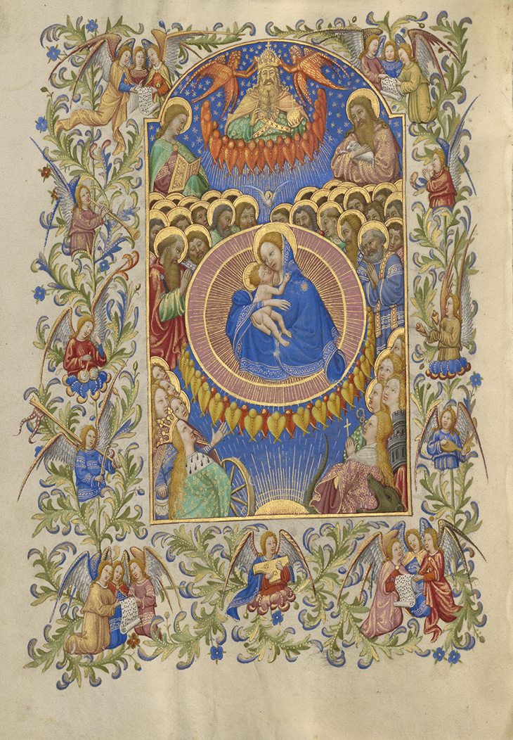 The Celestial Virgin and Child; Spitz Master (French, active about 1415 - 1425); Paris, France; about 1420; Tempera colors, gold, and ink on parchment; Leaf: 20.2 × 14.9 cm (7 15/16 × 5 7/8 in.); 94.ML.26.176v courtesy J. Paul Getty Museum, Getty Center, Los Angeles