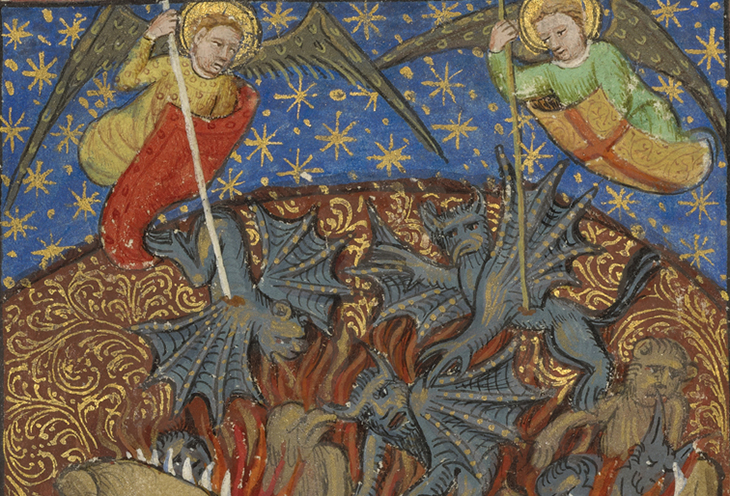 The Fall of the Rebel Angels; Unknown; Avignon (probably), France; about 1430; Tempera colors, gold leaf, gold paint, and pen and ink on parchment; Leaf: 24.8 × 17.9 cm (9 3/4 × 7 1/16 in.); 83.MQ.170.3v courtesy J. Paul Getty Museum, Getty Center, Los Angeles