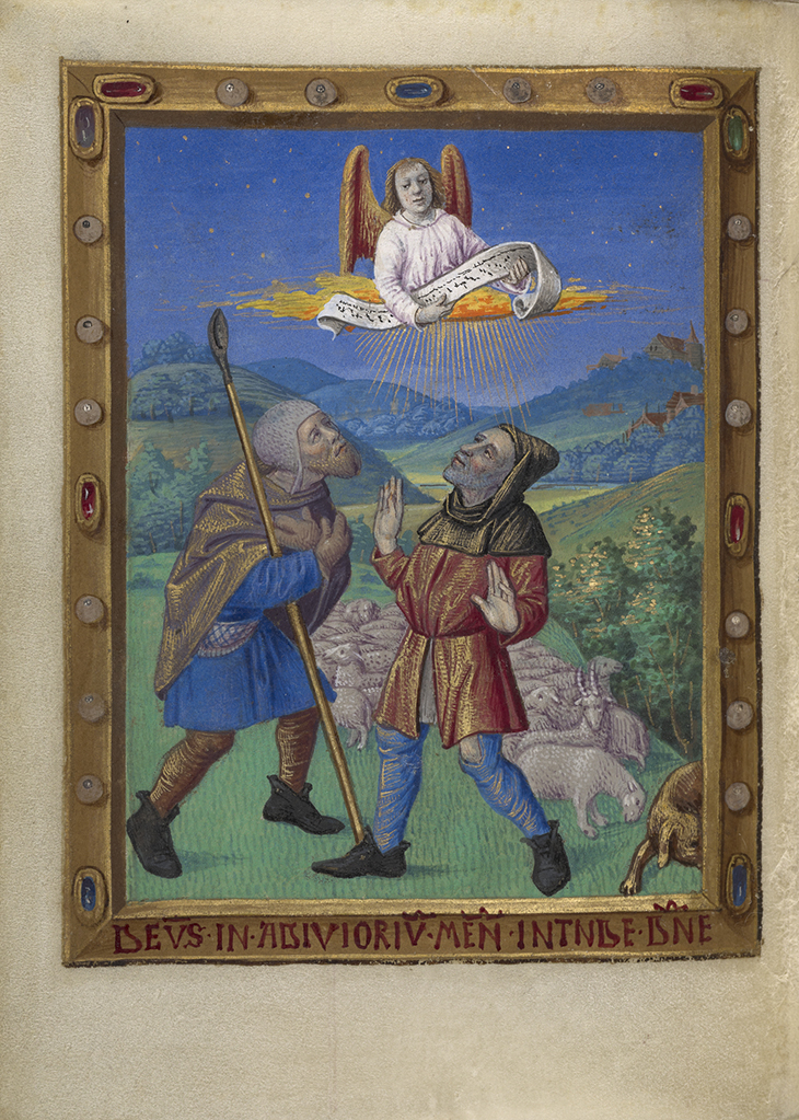 The Annunciation to the Shepherds; Georges Trubert (French, active Provence, France 1469 - 1508); Provence, France; about 1480–1490; Tempera colors, gold leaf, gold and silver paint, and ink on parchment; Leaf: 11.4 × 8.6 cm (4 1/2 × 3 3/8 in.); 93.ML.6.54v courtesy J. Paul Getty Museum, Getty Centre, Los Angeles