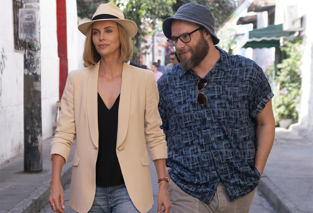 Charlotte Fields (CHARLIZE THERON) and Fred Flarsky (SETH ROGEN) in LONG SHOT. Photo by Hector Alvarez