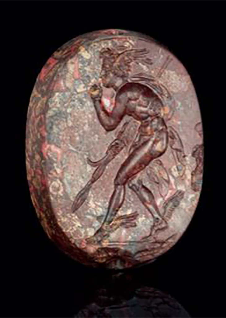 A Greek Mottled Red Jasper Scaraboid with Perseus, Classical Period, circa 4th century B.C., courtesy J. Paul Getty Museum