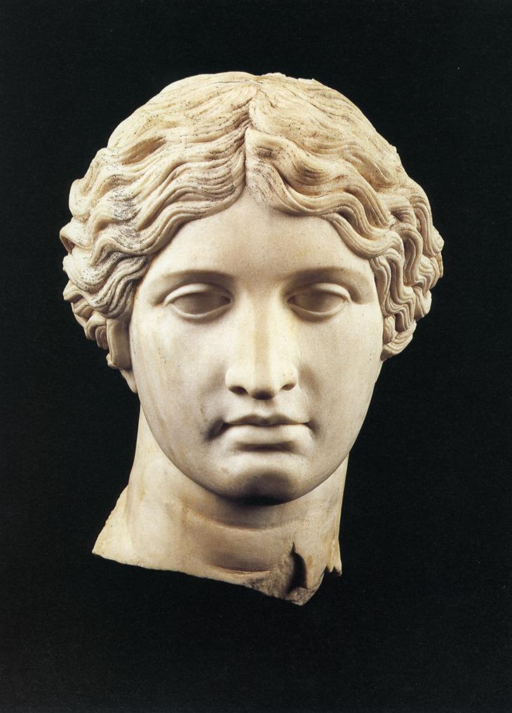 Head of an Amazon, 1st century, Roman, Marble, 34x19x28x7.1/2 cm, courtesy Ministero dei Beni e delle Attivita Culturali - Parco Archeologico di Ercolano