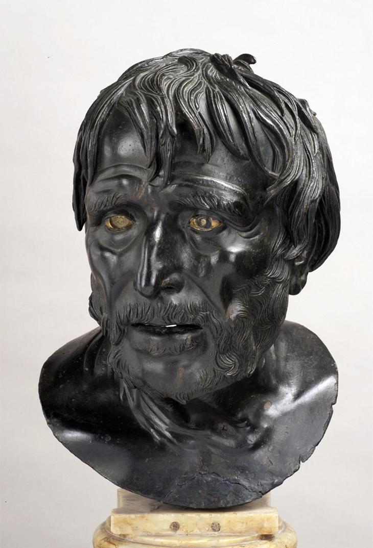 Bust of Pseudo-Seneca, 1st century BC - 1st century AD, Roman, Bronze, H: 46.4 × W: 23.5 × D: 21 cm, courtesy Museo Archeologico Nazionale di Napoli, Photo Luigi Spina