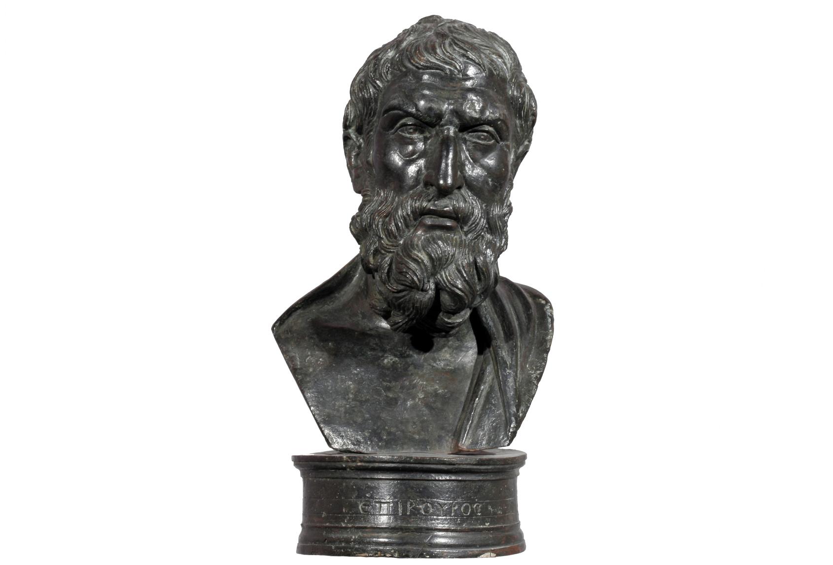 Small Bust o Epikouros, 1st century BC-1st century AD, Roman, Bronze, 12cm plus base 20.3 cm high courtesy Museo Archeologico Nazionale di Napoli, Photo Giorgio Albano