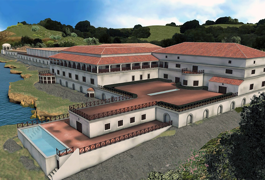 Digital reconstruction of the Villa dei Papiri from the southeast, courtesy ©Museo Archeologico Virtuale di Ercolano