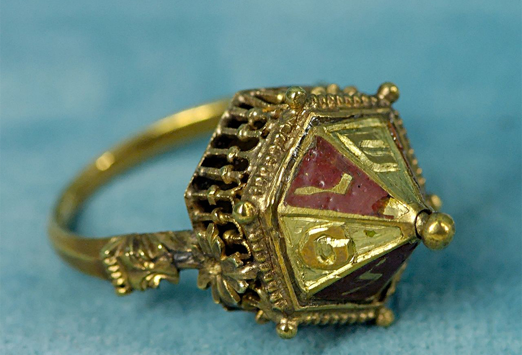 Gold Jewish wedding ring with Hebrew letters. Chased and enamelled gold and filigree, early 14th century, found at Colmar (Alsace, France) in 1863 MaterialGold, silver, bronze, iron, courtesy Musée de Cluny, Paris