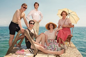 The Durrells in Corfu, left to right, Callum Woodhouse as Leslie, Josh O'Connor as Lawrence Durrell, Milo Parker as Gerald Durrell, DAisy Waterstone as Margo Durrell and Kelley Hawes as Louisa Durrell