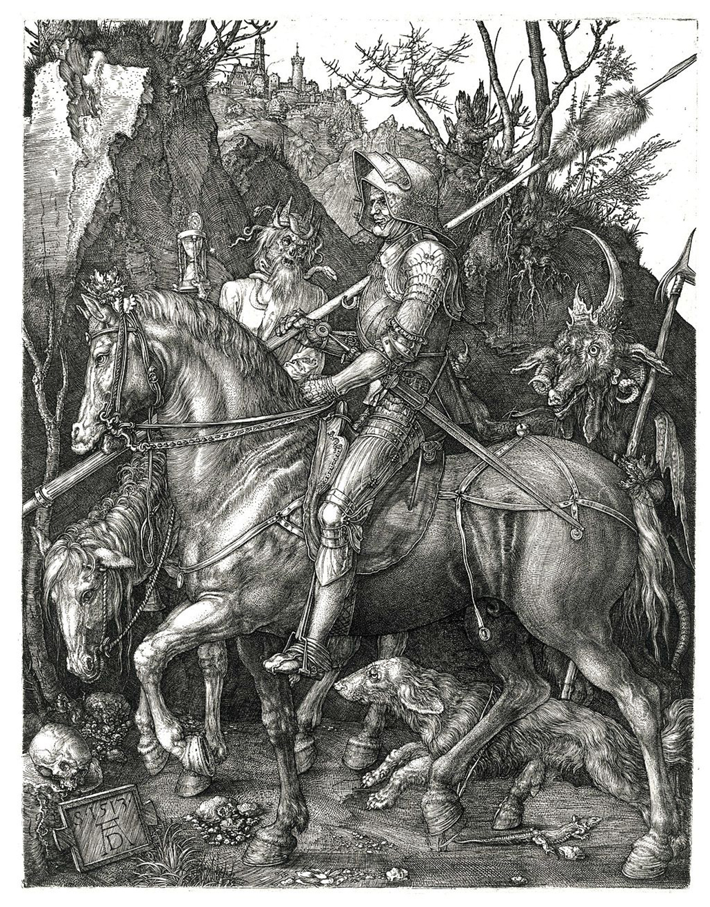 Albrecht Durer: Knight, Death and the Devil. 1513. Engraving. 24,6 × 18,9 cm. Schott-Sonnenberg Style of Armour (worn with sallet and gothic gauntlets)