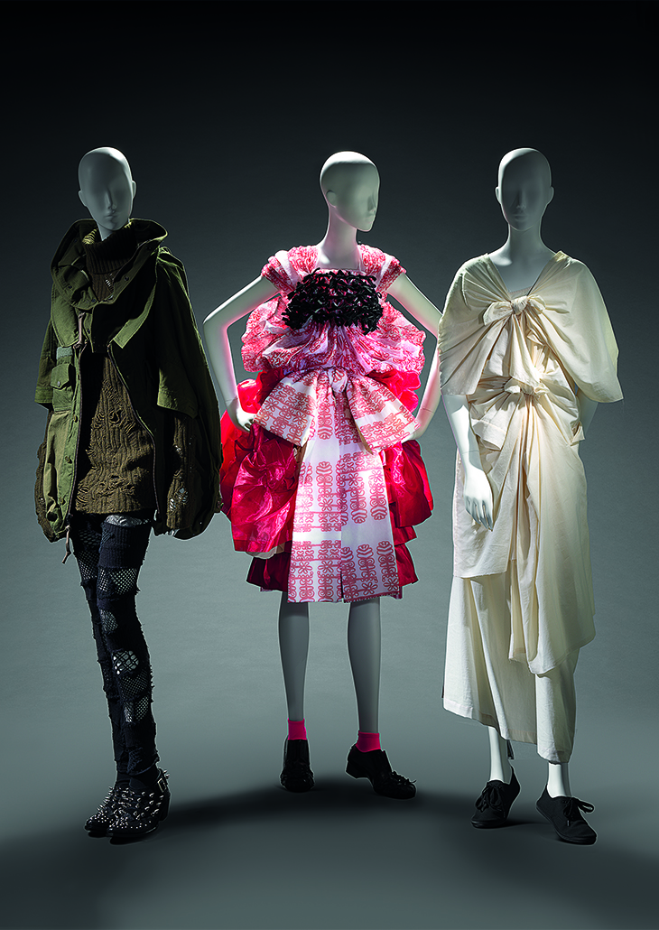 (left to right) Junya Watanabe, Comme des Garçons, Japan (fashion house) Japan est. 1992 Junya Watanabe (designer) Japan born 1961 Coat, jumper, leggings and boots 2006 autumn–winter, 2006–07 cotton, wool, nylon, acrylic, leather, metal (embellishments) 69.0 cm (centre back) 42.0 cm (sleeve) 75.0 cm (centre back) 80.0 cm (sleeve) 22.0 cm (waist, flat) 92.0 cm (outer leg) 71.0 cm (inner leg) d-e)  25.5 x 10.0 x 29.0 cm (each) National Gallery of Victoria, Melbourne Promised gift of Takamasa Takahashi  Tao, Comme des Garçons, Japan (fashion house) Japan 2005–2011 Tao Kurihara (designer)n Japan born 1961 Dress 2009 autumn–winter 2009 polyester, rayon; cotton, polyester; polyester; wool, mohair, nylon (a) 33.0 cm (centre back) 31.0 cm (waist, flat) (b) 61.0 cm (centre back) 59.0 cm (waist, flat) (c) 62.5 cm (centre back) 32.0 cm (waist, flat) (d) 63.0 cm (centre back) 30.0 cm (waist, flat) e-f) 11.0 x 9.0 x 26.0 cm (each) National Gallery of Victoria, Melbourne  Gift of Takamasa Takahashi through the Australian Government's Cultural Gifts Program, 2017 (2017.156.a-f) Comme des Garçons, Japan (fashion house) Japan  2005–2011 Rei Kawakubo (designer) Japan born 1942 Dress 2003 Extreme Embellishment collection autumn–winter 2003–2004 cotton, plastic zipper, metal zipper, metal hook, fabric fastener 133.0 cm (centre back) 44.0 cm (waist, flat) National Gallery of Victoria, Melbourne Gift of Takamasa Takahashi through the Australian Government's Cultural Gifts Program, 2015 (2015.124)